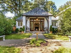 We Think You'll Love This Forest Drive English Cottage Copper Gutters, French Style Homes, Built In Bookcase, New Home Designs, French Decor, Luxury Real Estate, Lodges, Gazebo, House Plans