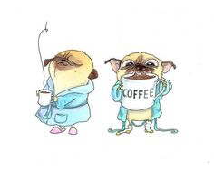 Coffee Pugs Handmade Greeting Card - Pug Card or Pug Stationery for Coffee Lover  Morning Person from InkPug! on Etsy, $4.50 Visit our website now!