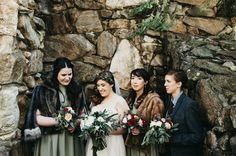 bridesmaids in fur wraps
