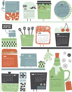 Awesome printable calendar...in dutch.  but you can still figure out what everything is. :)