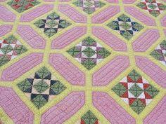 19th C Antique Victorian Garden Maze Quilt Beautiful Fabrics | eBay, vintageblessings