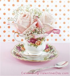 Great way to repurpose china tea cups and saucers for Valentines Day