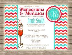 Monograms & Mimosas Preppy Modern Chevron by PaperCutsStationary, $1.50