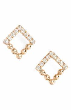 Dana Rebecca Designs Poppy Rae Square Diamond Stud Earrings