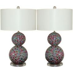 Pair of Vintage Murano Table Lamps of Tiffany Design, 1955