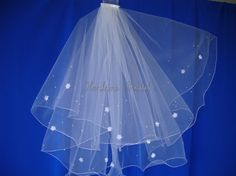 Wedding Veil Waist length veil with Silk Flowers and Scattered Pearls by Hoalanebridal on Etsy