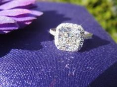 2.34 G vs2 Square cushion in Harry winston style halo Gorgeous ring GREAT PRICE | I Do Now I Don't