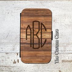 Monogrammed Wood Leather Flip Case, Rustic Wood Planks Wallet Case, Monogram Flip Case, Samsung Galaxy 3/4/5/6, Iphone 5S/5c/6/6 Plus