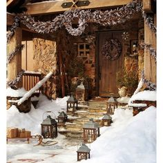 Rustic Christmas decoration ❤ liked on Polyvore featuring backgrounds