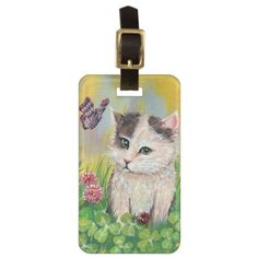 Kitty in Clover Patch Luggage Tag - cat cats kitten kitty pet love pussy