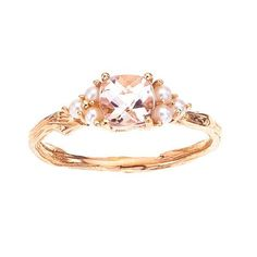 Morganite and pearl ring shown in 18K rose gnd 18K white gold. Eco & Ethical Engagement Ring from BMJNYC