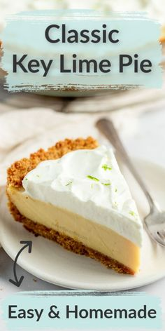 Key lime pie is a delicious traditional fruit dessert! This classic key lime pie features an easy homemade graham cracker crust, a smooth and creamy key lime pie filling, and homemade whipped cream on top. The perfect dessert for key lime lovers! Lemon Dessert Recipes, Homemade Desserts, Easy Desserts, Snack Recipes, Tart Recipes, Baking Recipes, Keylime Pie Recipe, Key Lemon Pie Recipe, Classic Key Lime Pie Recipe