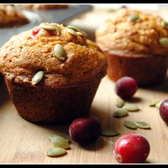 Libby's Pumpkin Cranberry muffins - no oil.  Has applesauce and oj.  And 3 cups sugar????