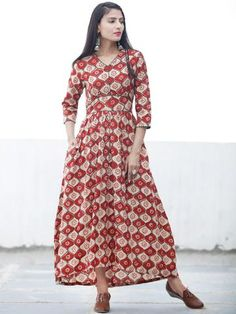 BLOCK GEOMETRY - Hand Block Printed Cotton Long Dress - D334F1372 a495a1ca4