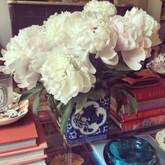 I need a blue and white vase for flowers.