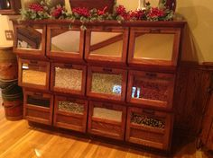 Antique Country Store Sherer Oak Seed Bean Or Candy Counter Display Cabinet Vintage