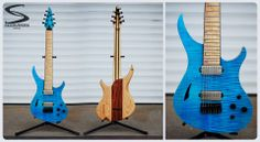 """Skervesen Guitars  Light blue 4AP recently sent to Customer. 7-string, 25,5"""" scale. Chambered body and flamed maple high gloss top with sound hole. On the back of body we added block of rosewood to create tone block we called """"soul"""". 9-pieces neck: flamed maple/wenge plus bubinga tiny stripes, birdseye maple fretboard w. MOP dots. Bare Knuckle Pickups Juggernaut calibrated set, World Domination Mod controls (humbucking/coil split/acoustic mod) + tone knob."""