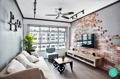 There is something about brick walls that I really like. Living Rooms with White Brick Walls Small Living Rooms, Home Living Room, Living Room Designs, Living Room Decor, Home Decoracion, White Brick Walls, Loft Style, Living Room Lighting, House Design