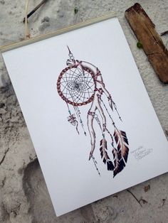 Indian Dream Catcher Print by MorgansCanvas on Etsy Atrapasueños Tattoo, Tattoo Drawings, Body Art Tattoos, New Tattoos, Tatoos, Native American Tattoos, Native Tattoos, Cherokee Indian Tattoos, Art Indien