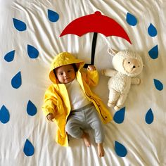Monthly baby picture | baby rain coat | April showers | 3 months
