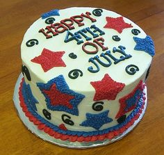 4th of July Cake  I loved this cake. I made it for our 4th of July party. It was 3 layers of cake that were chocolate, vanilla and strawberry. I just nesting cookie cutters to make the star patterns.