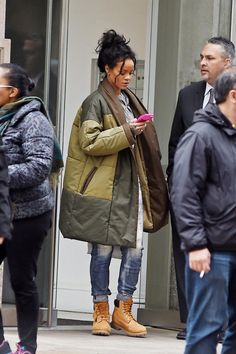 Rihanna ∞ coat boots women Style tumblr