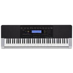 Casio WK-240  — 23490 руб. —  Синтезатор с 76 полноразмерными клавишами и встроенным автоаккомпанементом. Полифония – 48 нот, ЖК-дисплей, MIDI, USB. Тон-генератор AHL, 600 тембров и 180 стилей автоаккомпанемента. Встроенный сэмплер с возможностью записи с дополнительного входа aux in, разъем для подключения педали, разъем для динамического микрофона с ручкой регулировки уровня, выход на наушники. Встроенная память. Адаптер питания в комплекте.