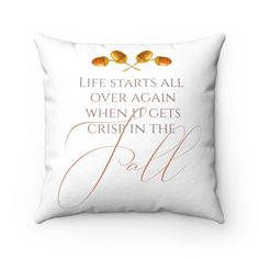 If you're looking for a budget-friendly and easy way to decorate for Fall / Autumn, this Life Starts All Over Again When It Gets Crisp in the Fall Throw Pillow from Pine Flat Decor is the perfect place to start! This high-quality and beautiful Fall Pillow cover makes a great addition to your porch decorating, as well. It goes with any home decor style from farmhouse, rustic, modern, mid-century and even boho! Decorate for Fall in any part of your home with this Fall pillow at Pine Flat…