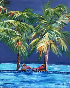 CARIBBEAN PALM BEACH Original Art PAINTING DAN BYL Modern Contemporary 4x5ft #Modern Grand Entrance, Large Art, Palm Beach, Modern Contemporary, Caribbean, Dan, Original Art, The Originals, Outdoor Decor