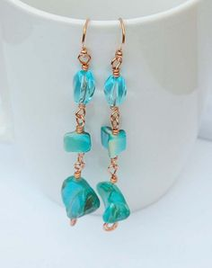 Turquoise Glass and Shell Earrings on Copper