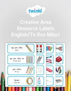 Creative Area labels in English and Te Reo Māori Bilingual Classroom, Classroom Labels, Classroom Organisation, Creative Area, Tidy Up, English, Learning, Tips, Maori