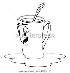 Cartoon cup. Surprised expression. Coloring page