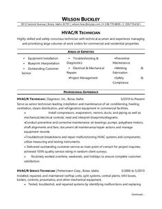 hvac technician sample resumes