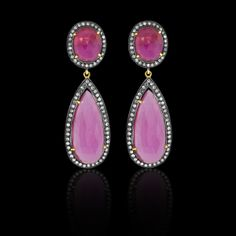 Double Pink Tourmaline Earring - JYOTI  #pink #tourmaline #earring #designer #JYOTI #couture #jewelry