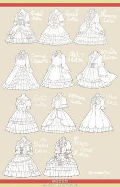 Lolita dress ref Manga Clothes, Drawing Anime Clothes, Dress Drawing, Drawing Poses, Fashion Design Drawings, Fashion Sketches, Anime Drawings Sketches, Cute Drawings, Dessin My Little Pony