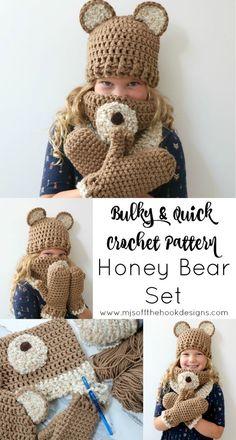Honey Bear Set Crochet Pattern - MJ's off the Hook Designs I bet I could make this of my PoohBear Crochet Bear Hat, Crochet Kids Hats, Crochet Mittens, Baby Blanket Crochet, Crochet Crafts, Knit Crochet, Knitted Cowls, Crocheted Hats, Crochet Projects