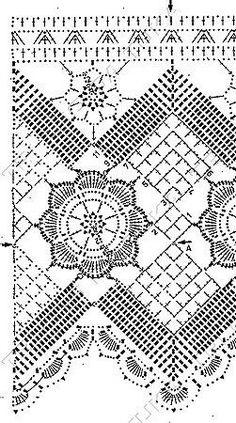 Crochet edge - free pattern (Chart) (Blocked link from liveinternet. Filet Crochet, Crochet Lace Edging, Crochet Fabric, Crochet Borders, Crochet Stitches Patterns, Crochet Chart, Crochet Squares, Thread Crochet, Irish Crochet