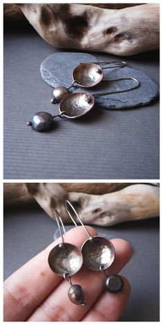 Cup earrings, artisan jewelry made with recycled copper, sterling silver and freshwater pearls. Beautiful textures, for a minimal look.  By Alice Savage. Bohemian, hippie, gypsy, mermaid