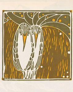 Jutta Sika, Owls, from the magazine Ver Sacrum, 1903. Color wood cut. Vienna. Via University of Heidelberg