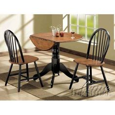 Acme 00878 3-Piece Mason Dining Set, Cherry and black finish  This #Mason #collection 3-piece #dining #set is made of rubber wood. This mason collection is perfectly classic and just right for your everyday casual dining room. Gather round for breakfast or anytime of the day.