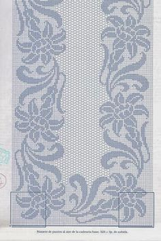 Rectangular tablecloth with flowersKira scheme crochet: Scheme crochet no. Filet Crochet, Crochet Motif, Crochet Doilies, Crochet Lace, Crochet Bedspread Pattern, Crochet Stitches Patterns, Beading Patterns, Embroidery Stitches, Crochet Table Runner