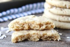Chewy Coconut Oatmeal Cookies from www.twopeasandtheirpod.com. Ingredients: flour, baking soda & powder, salt, sugar, brown sugar, eggs, coconut oil, vanilla, sweetened coconut, oats