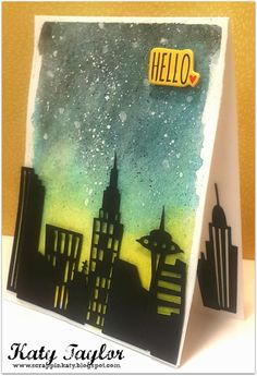An Inside to my Heart...#CitySkyline #cards #cricut #PrettyPaperPrettyRibbons #PPPR #watercolor #hello