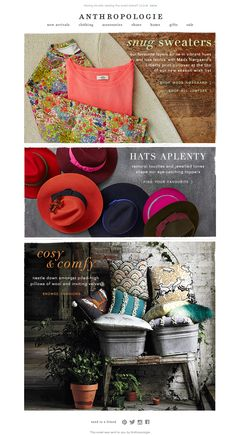 #newsletter Anthropologie 09.2013 subject: Just-in jumpers | Felt hats | Cosy cushions.