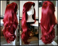 MERMAID/VIXEN WIG, Red Wig with Thick Swoop Bangs and Beautiful Full Waves: One of a Kind High Quality Wig designed by Traci Hines. $315.00, via Etsy.