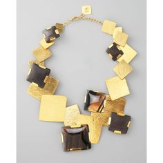 Herve Van Der Straeten Gold Multi-Stone Square-Station Necklace..Edgy.