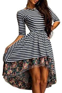 Striped Floral Print Flouncing Midi Dress: Bohemian Dresses | ZAFUL