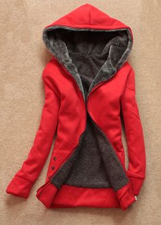 This is how Red Riding Hood survived winter in the forrest --> Catching Zipper Closure Long Sleeve Hooded Collar Red Coat