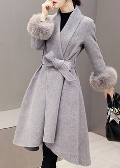 Grey Wrap Coat With Faux Fur Trim