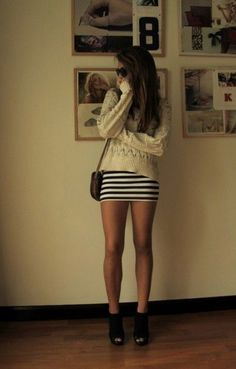 .love slouchy sweaters with knit skirts